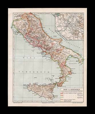 ANCIENT ITALY ROME - Historical Map 1909