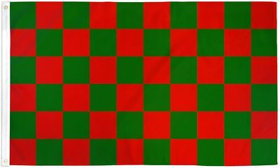 Checkered Red and Green Flag 3X5' New Attention Message Banner Christmas Colors