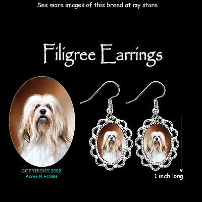 LHASA APSO DOG - SILVER FILIGREE EARRINGS Jewelry