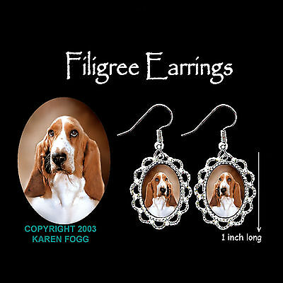 BASSET HOUND DOG - SILVER FILIGREE EARRINGS Jewelry