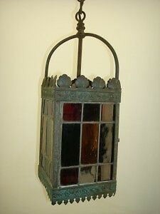 Antique Arts & Crafts Brass Stained Glass  Fixture
