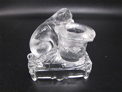 Antique Belmont Glass Dog With Hat Toothpick Holder