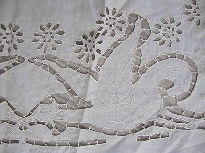 ANTIQUE GERMAN ca1880 Germany FINEST LINEN HAND EMBROIDERED FRAGMENT Birds Wings