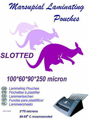 100 Marsupial ID  60*90 card size laminating pouches WITH SLOT (long or short)