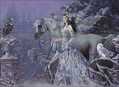 Nene Thomas Winter Wings Fairy LE Limited Edition Print Signed Horse Purple Snow