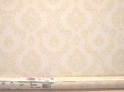 Traditional Damask Beige Leaves on Cream Wallpaper by Imperial  RT3262