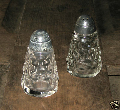 FOSTORIA AMERICAN EARLY TAPERED SALT & PEPPER SHAKERS!