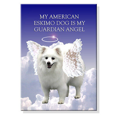 AMERICAN ESKIMO DOG Guardian Angel FRIDGE MAGNET Dog
