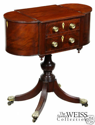 SWC-Classical Figured Mahogany Worktable, Boston, c1810