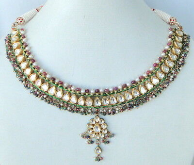Vintage Antique 22 K Gold Diamond Kundan Meena Necklace
