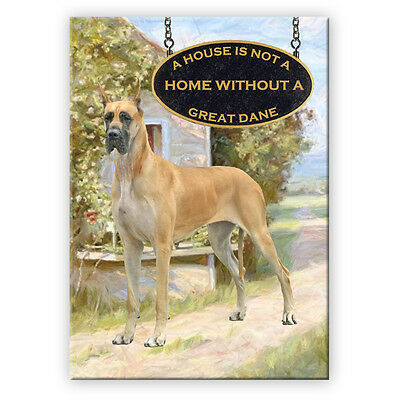 GREAT DANE House Is Not A Home FRIDGE MAGNET No 3 FAWN