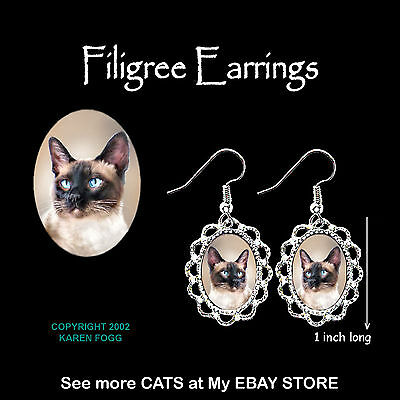 SIAMESE Cat - SILVER FILIGREE EARRINGS Jewelry