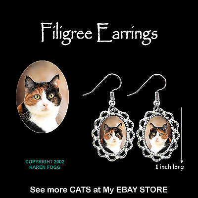 CALICO SHORTHAIR CAT - SILVER FILIGREE EARRINGS Jewelry