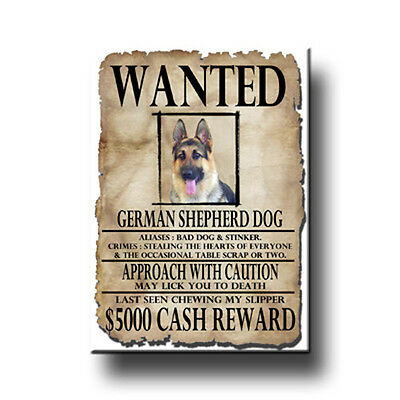 GERMAN SHEPHERD DOG Wanted Poster FRIDGE MAGNET New