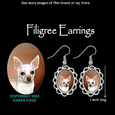 CHIHUAHUA DOG Smooth White - SILVER FILIGREE EARRINGS Jewelry