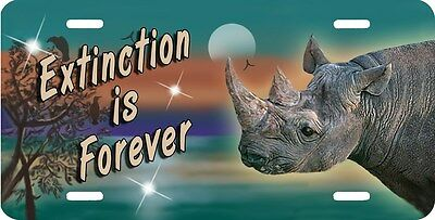 Rhinoceros Rhino License Plate Extinction Is Forever Or Add Your Own Message