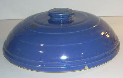 """Vintage 9.5"""" Blue Covered Stoneware LID ONLY for bowl"""
