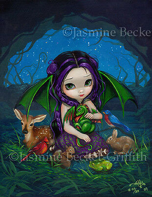 Dragonling Garden 3 dragon fairy goth art CANVAS PRINT