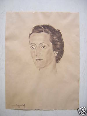 Unknown Unidentified Polish: Woman Portrait 1947 / Vintage Pastel French