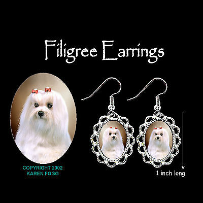 MALTESE DOG Show Coat - SILVER FILIGREE EARRINGS Jewelry