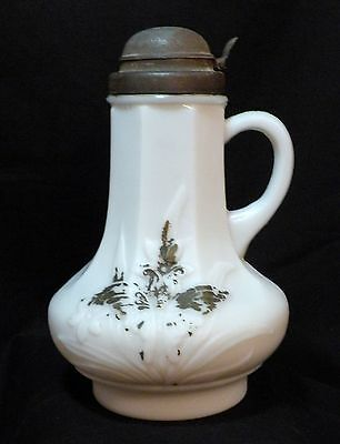 Antique Hidden Butterfly Glass Syrup Jug