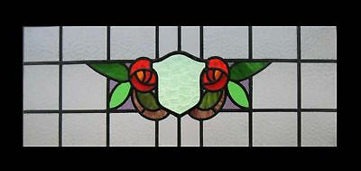 Fabulous Floral Mackintosh Rose English Stained Glass Transom