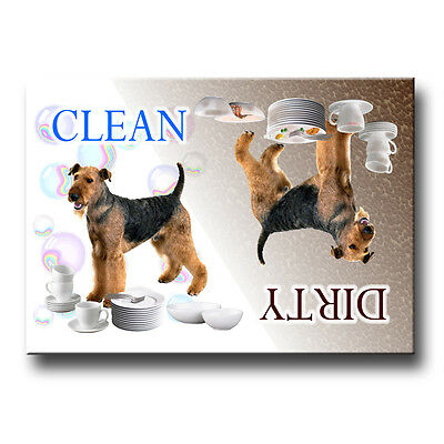 AIREDALE TERRIER Clean Dirty DISHWASHER MAGNET Dog