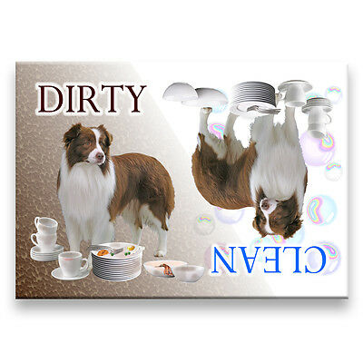 BORDER COLLIE Clean Dirty DISHWASHER MAGNET No 2 R&W