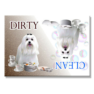 MALTESE Clean Dirty DISHWASHER MAGNET Dog