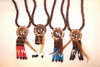2 FEATHER BONE MEDALLION NECKLACE  costume jewelry BEAD MENS WOMENS native style