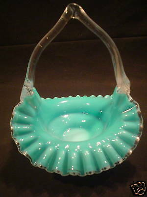 Beautiful Antique American Cased Art Glass Basket Blue