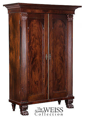 SWC-Monumental Neoclassical Mahogany Linen Press, c1820