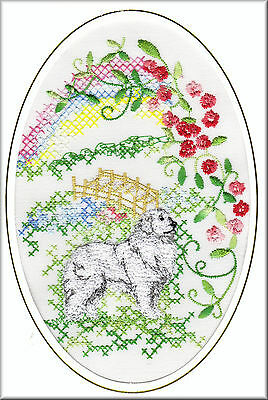 Pyrenean Mountain Dog Rainbow Bridge Card Embroidered by Dogmania