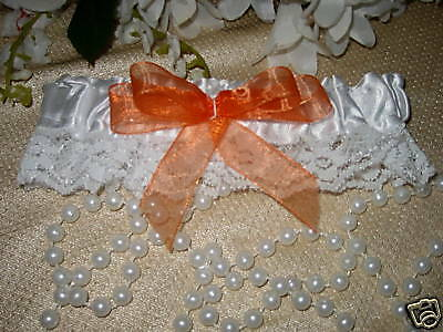 Wedding Reception Ceremony Party Garter Satin & Lace Orange
