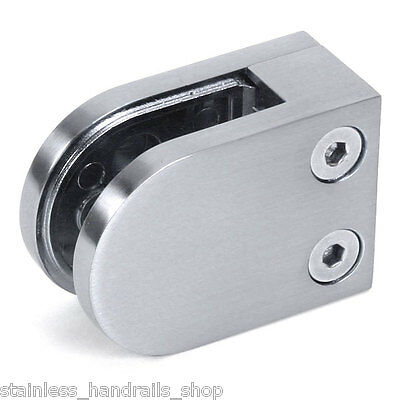Zintec Brushed Steel Effect Glass Clamp - Handrail Balustrade Metal Clip Bracket