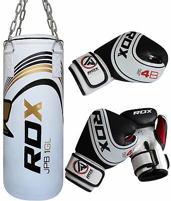 RDX 4FT White Filled Punch Bag MMA Training Kick Boxing Set With Gloves & Chain