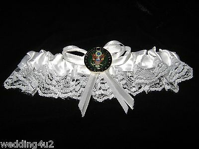 Wedding Party Ceremony Military US Army Bridal White Garter Satin & Lace