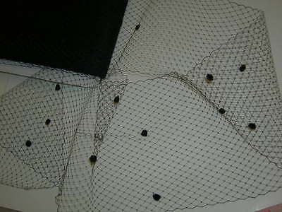 Black bird cage veil netting chenille dot birdcage By the yard  +