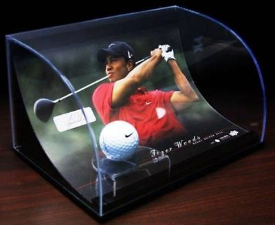 UDA Tiger Woods Used Range Ball Signed Curve Display LE