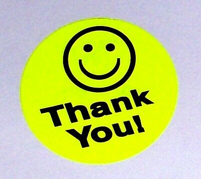 500 Big Thank You Smiley Label Sticker Round Circle 1.5 1 1/2 Best Price Yellow