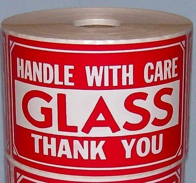 500 2x3 FRAGILE GLASS HANDLE WITH CARE LABEL STICKER