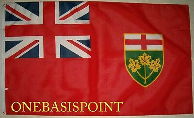3'x5' Ontario Flag Canada Province Banner British Union Jack Coat of Arms 3X5