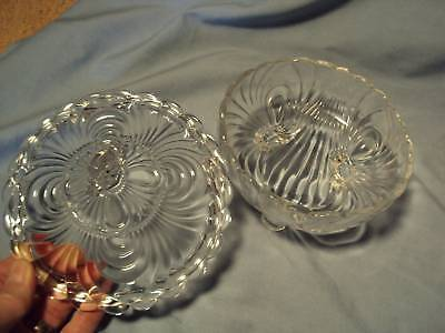 ANTIQUE DRAPE SCALLOP PATTERN GLASS 3-foot COVERED DISH