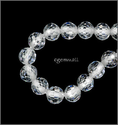 Cubic Zirconia Faceted Round Beads 6mm 8pc White / Clear #64102