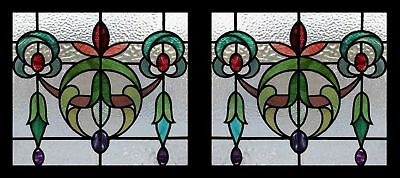 Amazing Pair Art Nouveau Antique English Stained Glass Windows