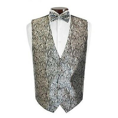 New Zebra Tuxedo Vest and Tie Set