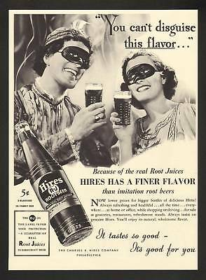 1937 Hires Root Beer Couple In Disguise Print Ad
