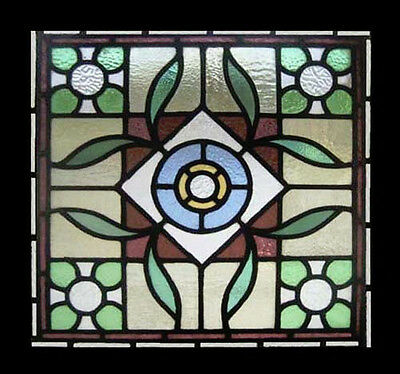 Amazing Leafy Victorian Antique English Stained Glass Window