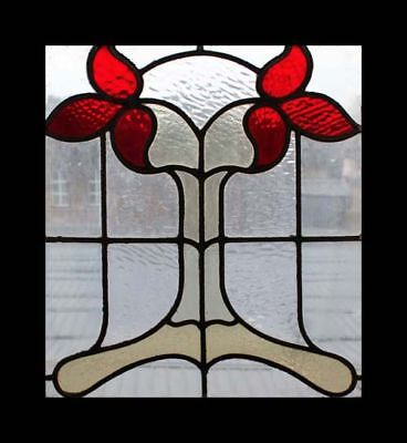 Art Nouveau Flowers Antique English Stained Glass Window