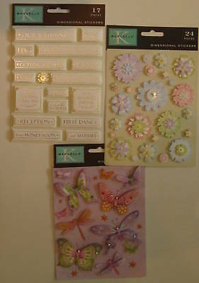 Wedding, Butterflies, and Flowers Embellishments (Dimensional Stickers)